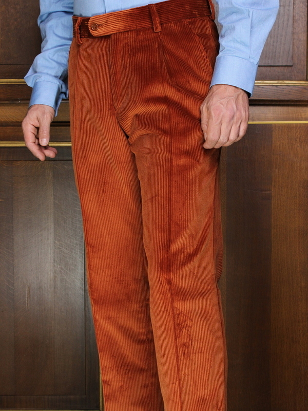 Pantalon à pinces Velours lourd orange rouille PV75