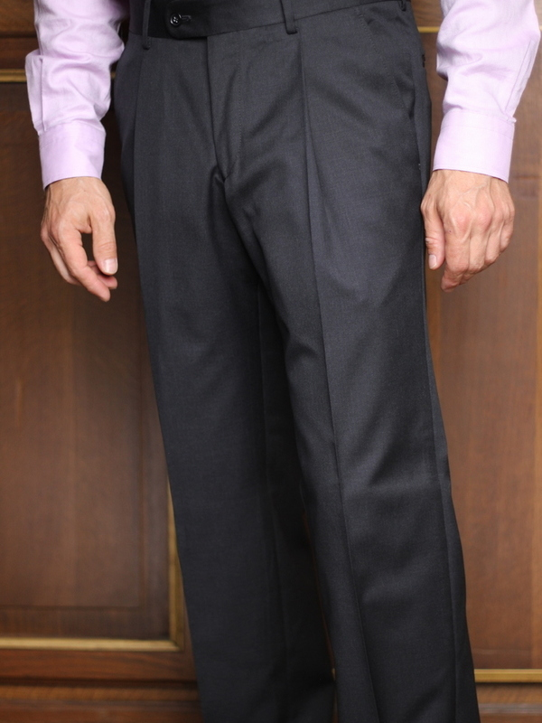 Pantalon à pinces super 100 gris anthracite pure laine 11001